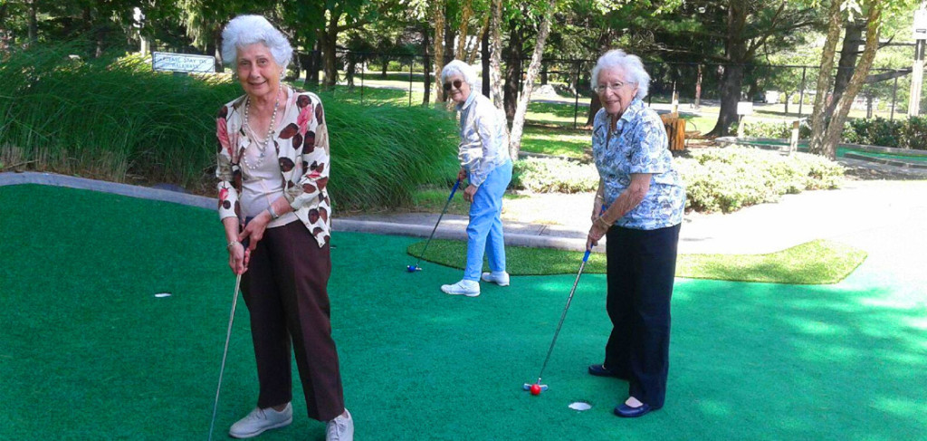 Senior Ladies playing golf